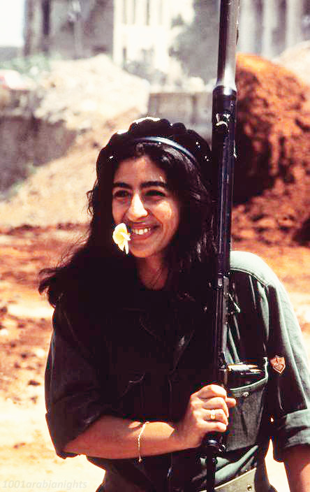 radicalpomegrantes:   A soldier girl - Lebanon 1982 .    A Palestinian if you notice the Fateh insignia on her right arm :)