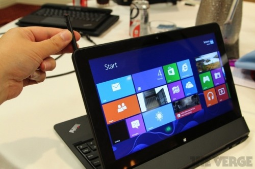 thisistheverge:  Lenovo ThinkPad Helix tablet / laptop hybrid gets a power-up when it docks Did you think you'd seen every possible way a laptop and tablet could merge? Lenovo's ThinkPad Helix is here to show you otherwise. Rather than simply flipping head over heels, twisting in place, or detaching from a battery-laden slate of keys, the ThinkPad Helix is a powerful tablet that actually gets more powerful when you combine it with its keyboard docking station — think Mighty Morphin Power Rangers but with Lenovo's trademark rack of keys rather than giant robotic animals.