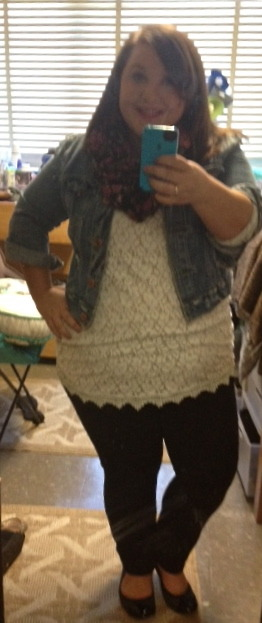 This is one of my go-to outfits. I love this tunic top and this black scarf with pink flowers is one of my all-time favorites.  Jacket- American EagleTop- H&MCami- TargetJeans- Forever 21+Scarf- TargetFlats- Payless