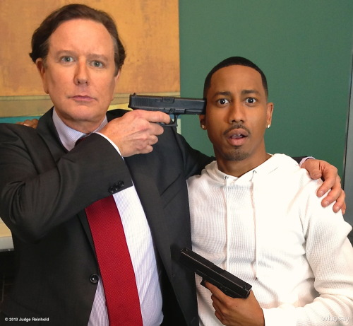 @judgereinhold and @brandontjackson prove they have no right to bear arms on the set of Beverly Hills CopView more Judge Reinhold on WhoSay