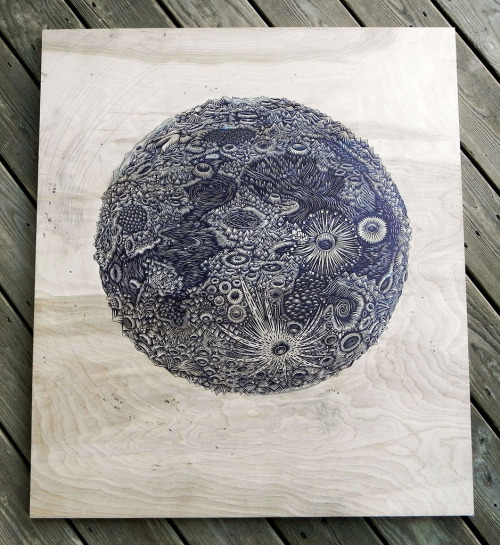 """THE MOON"" Woodcut (by Tugboat Printshop)"