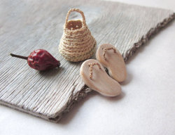 Miniature Slippers With Mini Basket by plad So Cute! posted by http://aliljazz.tumblr.com