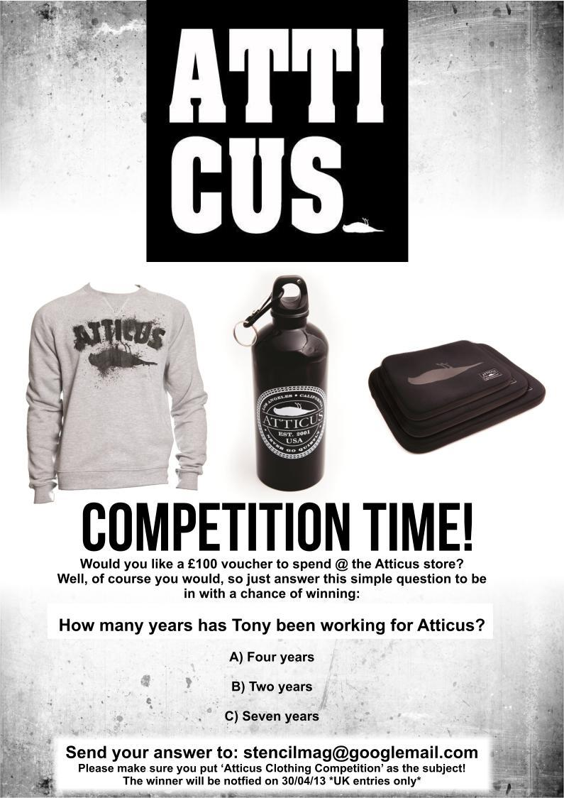 Only a couple of days left now to enter our Atticus competition! Get involved: stencilmag@gmail.com