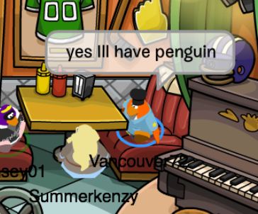 nowaclubpenguinblog:  she really did not want to take my order