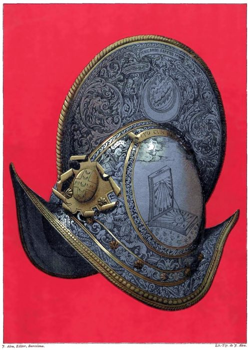 Italy, XVI century morion bearing the coat of arms of the Piccolomini family.  From Galería del arte decorativo (Gallery of Decorative Art) vol. 2, collective work, Barcelona,  1890.  (Source: Universitat Autonoma de Barcelona)