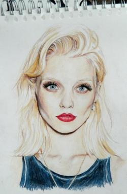 narobe:  thecreepbitch:  Abbey Lee Kershaw   beautiful drawing