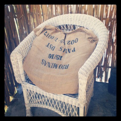 my #trompe_l'oeuil wicker chair saved from landfill and revamped in #burlap.Ko baca ovakve stvari moze da me zove 24/7,srsly
