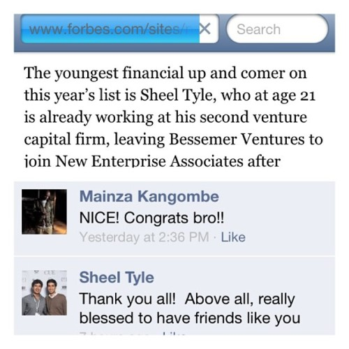 Congrats to my homie @sheeltyle for also making it onto the Forbes 30 Under 30 #blessed see you soon fam!