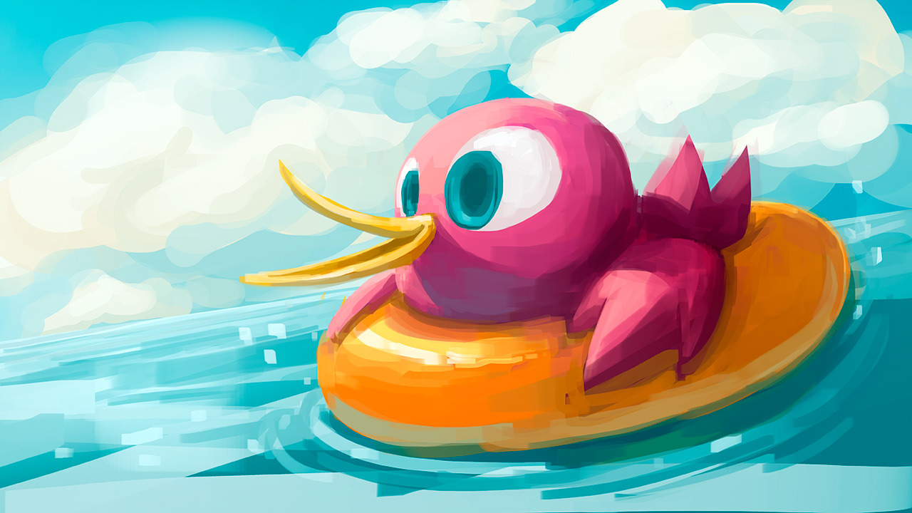 Underbird goes for a swim in the sea, so messy