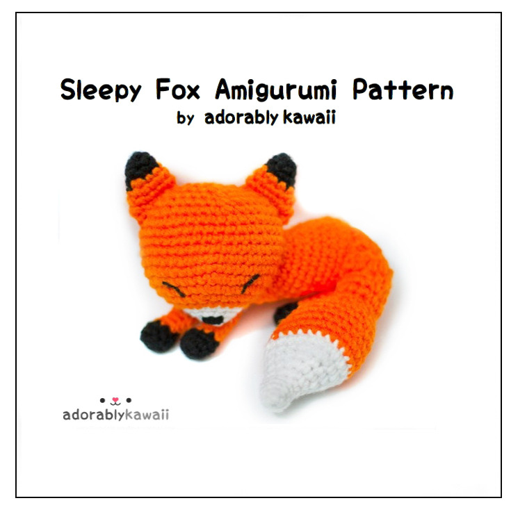 The Sleepy Fox Amigurumi Pattern is finally available! Sorry for taking so long! I originally designed this fox in 2011 to make the finished objects for my shop. It's become Adorably Kawaii's mascot. The pattern includes photo tutorial for magic ring and photos to help you along the way. The PDF has 21 pages and the skill level is intermediate. Pattern can be bought via Ravelry, Craftsy, and Etsy.