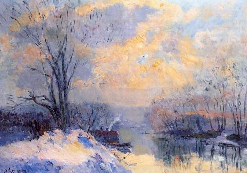 The Small Branch of the Seine at Bas Meudon Snow and Sunli by Albert Lebourg