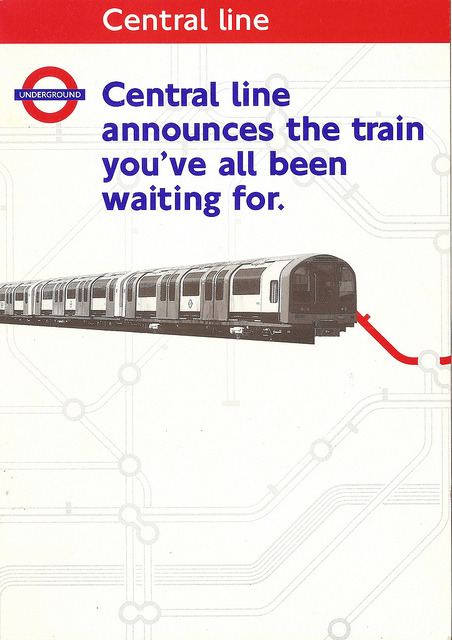 London Underground - Central line announces the train you've all been waiting for - publicity leaflet for the introduction of the 1992-tube stock by mikeyashworth on Flickr.