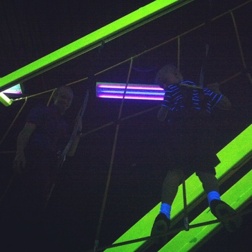 My climbers :) #climbing #neon #blacklight #fun #ropes