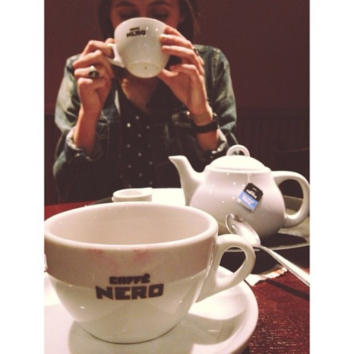Tea in London. We found it. We're happy.  (at Caffè Nero)
