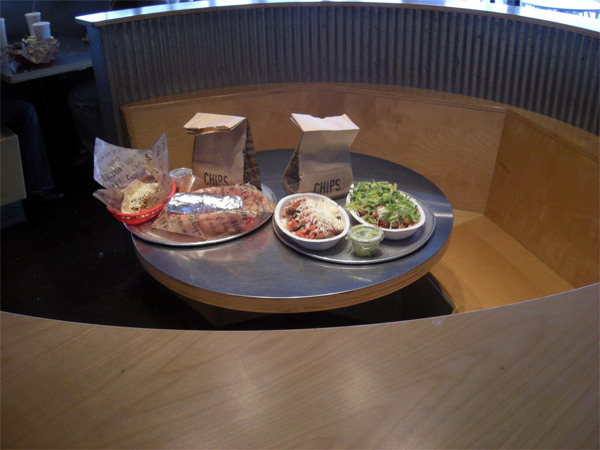 For sale: A fully assembled, intermediated meal for one or more at Chipotle. Meal includes three to four set entrees and two big bags of Chipotle chips. Beverages not included and entree options not customizable. Available in any US city where Chipotle operates. Please book one week in advance. Upon purchase you will receive a set time and date to arrive at a local Chipotle where your meal will be fully assembled and ready at a specified table or booth. Meal and table will be secured inconspicuously until buyer arrives. Buyer is not required to interact with anyone. Time and date is not negotiable. Price: $10,000 Buy now