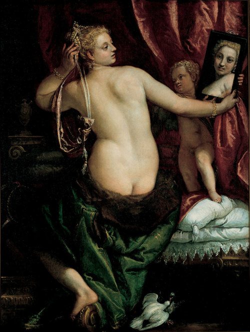 citrusina:  Venus with a Mirror (Venus at Her Toilette) Paolo Veronese, an Italian Renaissance painter  Owned by the Joslyn Art Museum, Omaha.