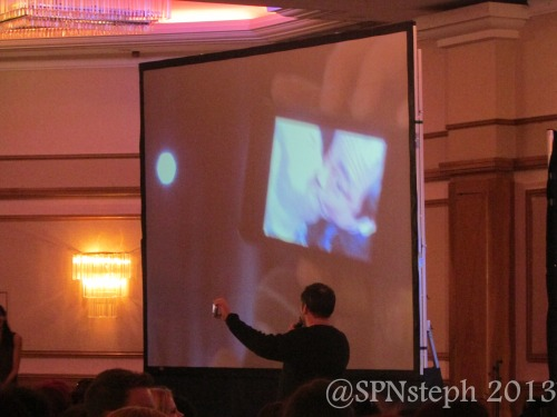 Mark showed the crowd the photo on his phone of him and Jim kissing