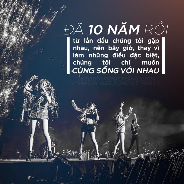 """""""Đã 10 năm rồi từ lần đầu chúng tôi gặp nhau, nên bây giờ, thay vì làm những điều đặc biệt, chúng tôi chỉ muốn cùng sống với nhau"""". { 2NE1 trên Vogue tháng 5/2014 Vtrans by Alee @ 2NE1 VIETNAM FC}"""
