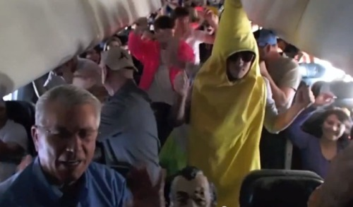 "thisistheverge:  Harlem Shake on a plane might be craziest yet, FAA investigating potential safety violations The Harlem Shake is a global phenomenon that needs no introduction — the YouTube dance craze has practically been done to death — but a Colorado ultimate frisbee team's high-flying hijinks have propelled the meme into the news yet again. On February 15th, Colorado College students on Frontier Airlines Flight 157 donned a banana suit and Abraham Lincoln mask, and shook their way to fame somewhere over the Grand Canyon.  ""This is your captain speaking … we're experiencing a little turbulence on this portion of the flight, and the stewartess tells me that it's coming from inside the plane. WTF?"""