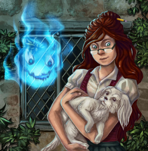 thiefrabbit:  Fanart of Charmain, Waif, and Calcifer from Diana Wynne Jones' House of Many Ways.  It's a cute book, except the bad guys get turned into rabbits and eaten by a magic dog (T_T)  I watched her working on this over her shoulder!
