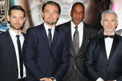 Jay-Z atThe Great Gatsby premiere, with director Baz Luhrmann and stars Tobey Maguire and Leonardo DiCaprio.