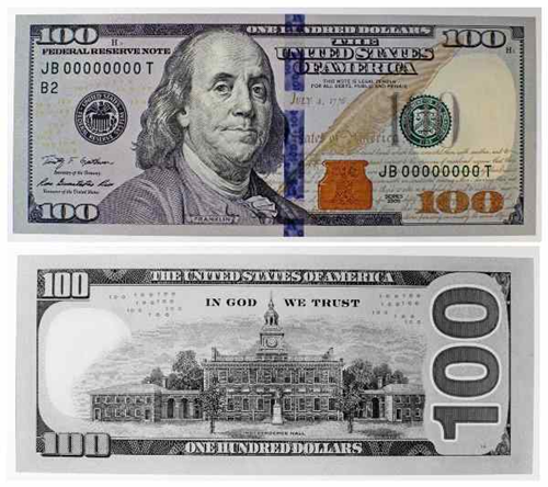 thedailywhat:  Introducing the New $100 Bill Ben Franklin's $100 bill is getting a makeover this coming October with some brand new security features to help deter counterfeiters, including a 3D security ribbon that is woven into the paper with animated and color-shifting watermarks. For instance, if you were to examine an authentic, new $100 banknote, you'll notice a color-changing bell hidden inside the inkwell (located to Franklin's right side) that turns from copper to green as the bill shifts. Want to see the bill in action? Head over to NewMoney.gov for an interactive look at this high-tech bill.