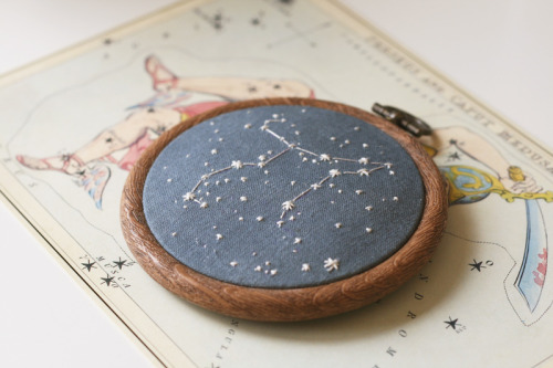 Constellation embroideries were one of the first things I made when I started sewing, I wanted to go back and redo one that's more like how I work now. It's interesting to see how it's changed, the fabric is dyed from a blend of colours to get the colour I wanted rather than just grabbing some blue, and the stitching is far neater! Popped this on my etsy HERE, if people like them I might do a few more, they're fun :)