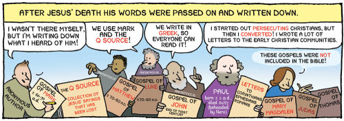 This panel condenses the gist of a three-month course on the New Testament. I wish more people would be aware of this background on how Scripture came to be. It might put some perspective on the Absolute Word of God.(From my comic about religion, which I'm translating now)