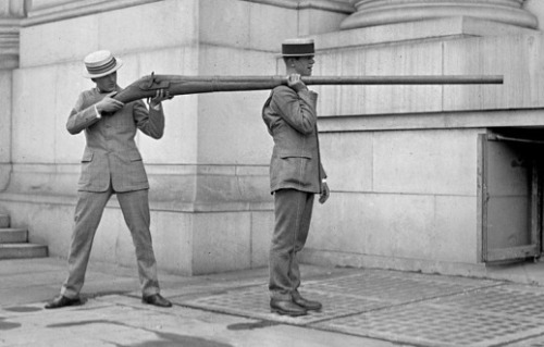"messytimetravel:  c. 1900: Punt Guns ""A punt gun is a type of extremely large shotgun used in the 19th and early 20th centuries. A single shot could kill over 50 waterfowl resting on the water's surface. The hunter would maneuver the entire boat in order to aim the gun. In the United States, this practice depleted stocks of wild waterfowl and by the 1860s most states had banned the practice.  ""Since Queen Victoria's Diamond Jubilee in 1897 there has been a punt gun salute every Coronation and Jubilee in Cowbit, Lincolnshire, England""  - Wikipedia  …  Sources: International Ammunition Association / Spalding Today"