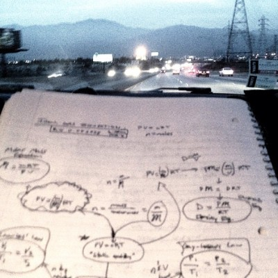 Helping Ian study while he drives us to Lancaster:) #science #ihaveasmartboyfriend #thislookslikealienscribble