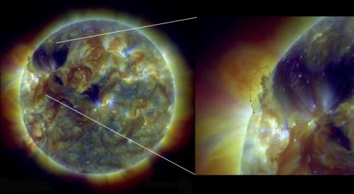 What's actually happening on the Sun right now?  One beautiful feature we are seeing coming over the northeastern limb of the Sun is this large filament. It stretches approx. 93,000 miles (150,000 km) from end to end. For comparison - the average distance from Earth to the Moon is 239,000 miles (384,000 km).  So far the massive structure has hovered quietly above the stellar surface, but could break and send pieces of itself into Space. This image here is in extreme UV; a three wavelength composite showing us different parts of the solar corona.  (credit: NASA Solar Dynamics Observatory)