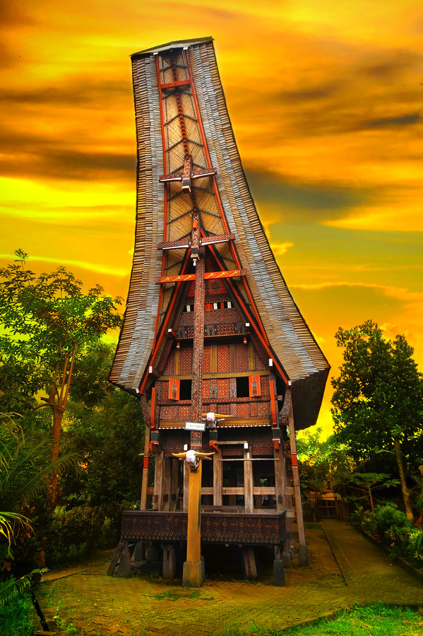 "evocativesynthesis:   ""Toraja House"" by Charuhas Images  That is a very unusual structure."