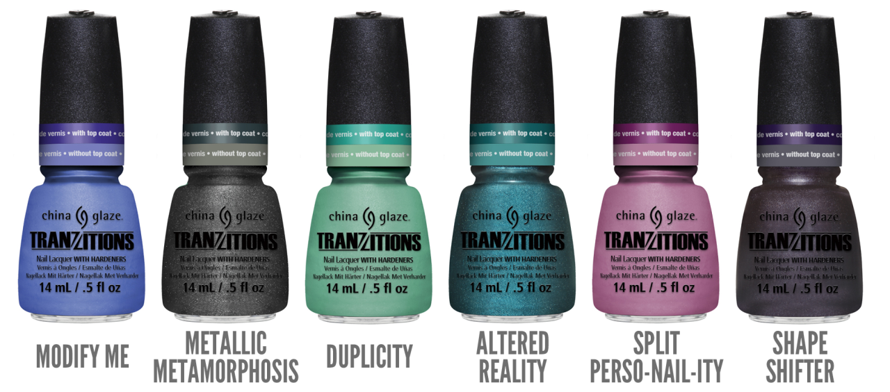 China Glaze Introduces Tranzitions Color Changing Collection There's nail art and then there's China Glaze nail couture. Reverse French manicure, half moons, ombre, basket weave, dots or racing stripes: nail designs are intricate and multi-colored. China Glaze introduces a new way to get multi-color, unique nail art with fewer bottles of polish with the new color-changing Tranzitions collection!