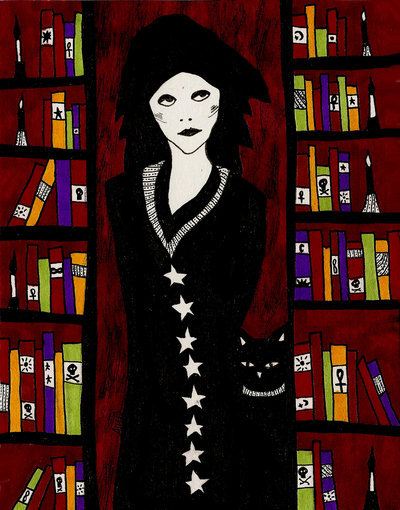 Allie Hartley, 'Librarian and her Cat'