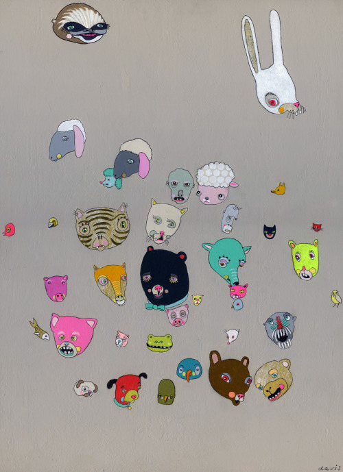 "jenniferdavisart:  Assortment 12x17"" acrylic/graphite on panel JenniferDavisArt.com"