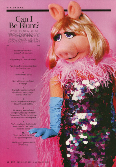 iheartthemuppets:  Miss Piggy's ten connections to the gay community