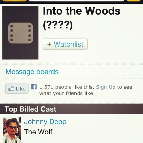 Please let this be real. #IntoTheWoods #Theatre #Thespian #Please #JohnnyDepp 😍🎭🙏