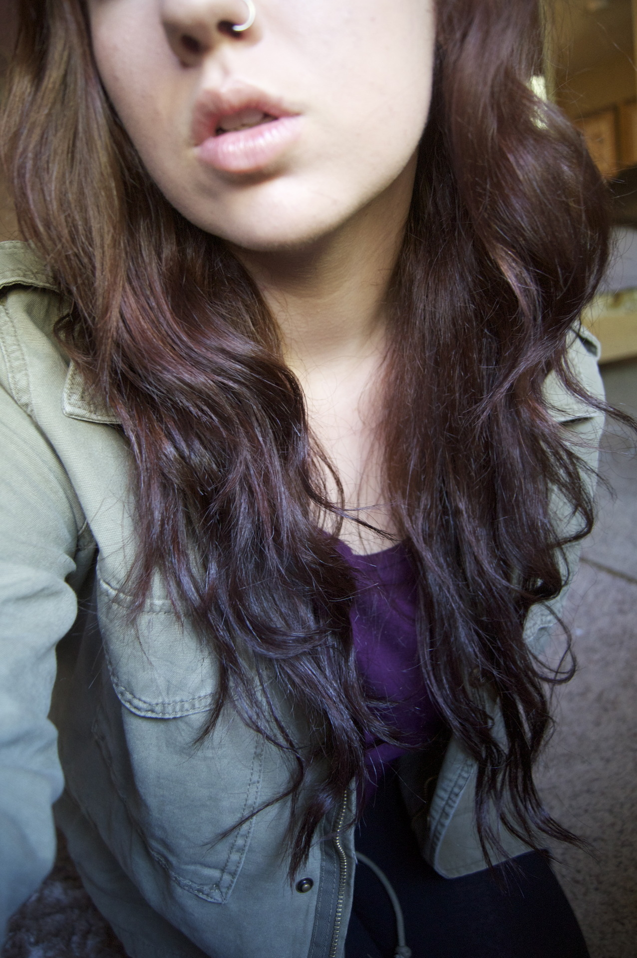 I died my hair today and now its this weird purple color and idk if I like it or not oh well