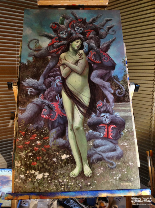"jameshance:  I've just listed 5 signed, box canvas prints of 'The Adoration of Elphie' (Wicked / The Wizard of Oz) up on the eBays - Here they are! They're the exact same size as the original (28"" x 15.5"") and I couldn't be more pleased with how they've turned out :) Quantities are extremely limited - I'll be getting more in sporadically. Thanks for your kindness and support, as always! xMy site / My Facebook / Original Art on eBay"