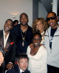 Jay-Z, Kanye West, GLC, and Beyonce backstage at the famed Abbey Road Studios in London, shortly after Kanye recorded his live DVD and album Late Orchestration. 2005.