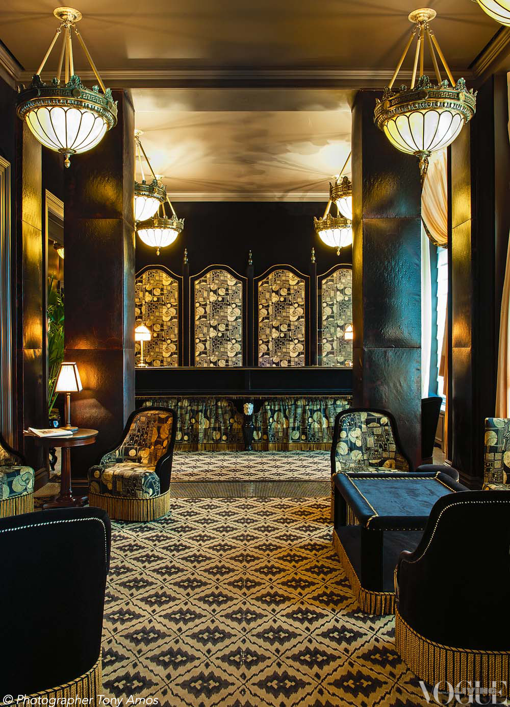 voguelivingmagazine:  Manhattan's opulent, Paris-inspired hotel NoMad, which occupies a 1903 Beaux Arts building, has a high-bohemian, nostalgic luxury rarely found in New York. From 'The Making of Midtown' a story on page 34 of Vogue Living April 2013.  Photograph by Tony Amos.
