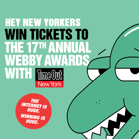 webbys:  Hey New Yorkers, We know how much you love your various Internet devices, including the one you're reading this on right now. Wanna come to the biggest Internet event of maybe the century but definitely the year?  All you need to do is send TimeOut New York a Webby hallmark 5-word Speech describing how New Yorkers use technology.  The winner will get 2 tickets to the sold-out super exclusive amazingly amazing ceremony in New York on May 21. Entries must be submitted before 5:00 PM on Thursday, May 16, 2013. DO IT!