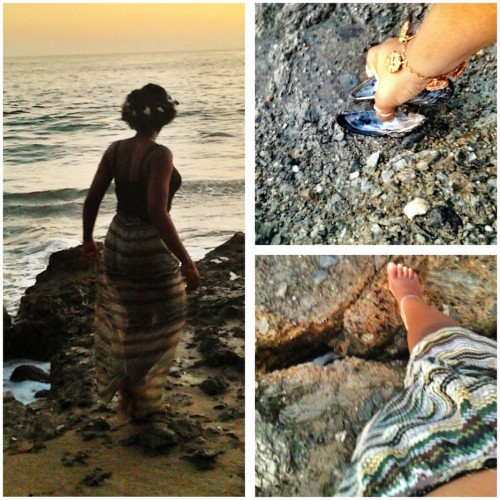 Beach Adventure (by Zoe Joy Black)Wearing: She's Cool Maxi Dress (that I turned into a maxi skirt), Old Navy crop tang top, Muzic To My Ears flower crown, penny bracelet, upper arm bracelet, and bare feet.   Read more about this look and my beach adventure on my blog. http://muzictomyearslife.blogspot.com/  Flower crown available at https://www.etsy.com/listing/151882371/woodland-adventure-ivory-flower-crown?ref=shop_home_active