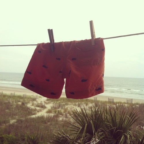 Little Cash's swim trunks #amerimon #beachtrip (at Holden Beach)