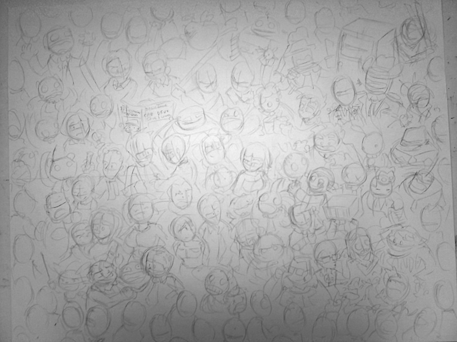 I wonder how long it'll take to ink all these guys? (The piece is 24 inches wide)