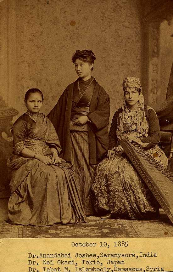 deafmuslimpunx:  An Indian woman, a Japanese woman, and a Syrian woman, all training to be doctors at Women's Medical College of Philadelphia, 1880s. (Image courtesy Legacy Center, Drexel University College of Medicine Archives, Philadelphia, PA. Image #p0103) (x)