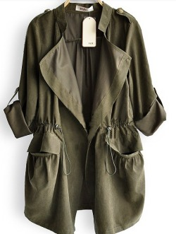 // Amy Green Drape Collar Pockets Long Sleeve Drawstring Outerwear //
