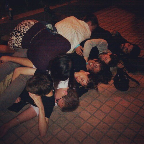 Spooning in front of a public restroom after Beertopia and Avenue of the Stars. We roll deep. @obiolina @jinni_rui
