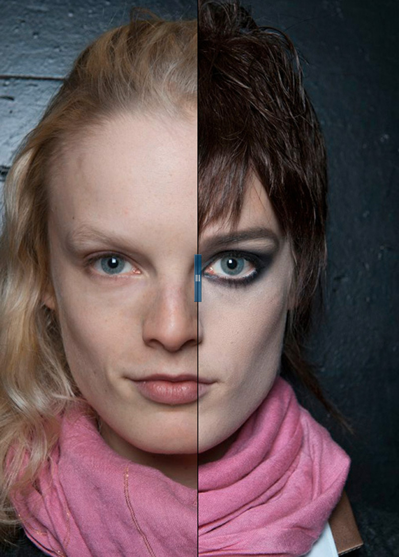 See model Hanne Gaby Odiele's backstage transformation at Marc Jacobs. Click through for the interactive Model-Morphosis by Greg Kessler.