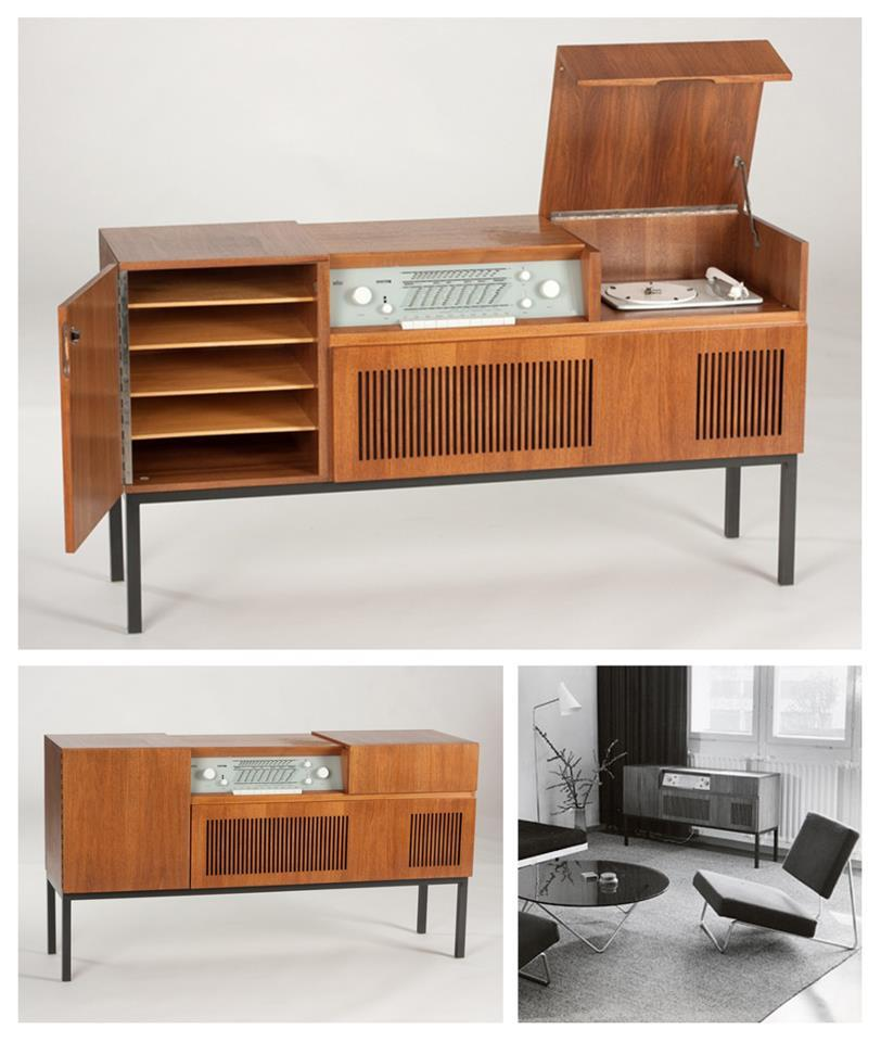 Braun HM 5 stereo cabinet made of walnut, Germany, 1959…